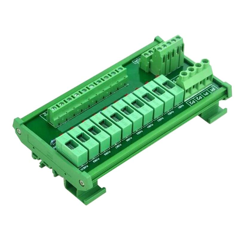 DIN Rail Mount 10 Position Power Distribution Fuse Module Board For AC DC 5 48V Fuse