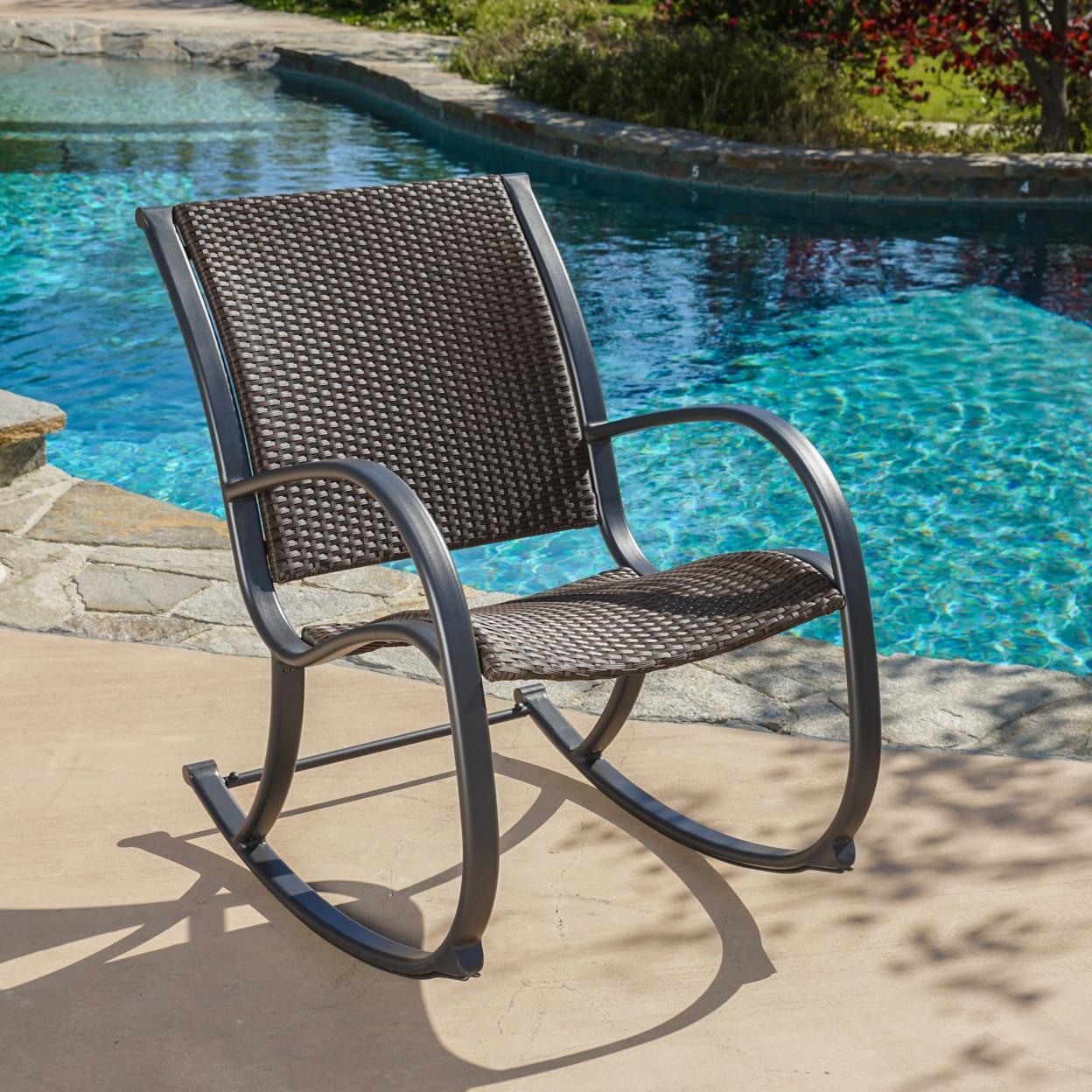 Leann Outdoor Dark Brown Wicker Rocking Chair dg home кресло egg chair dark brown