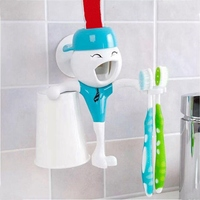 NEW Bathroom Accessories Products Automatic Toothpaste Dispenser Toothbrush Holder Set Tooth Glass Wall Mount Rack Bath