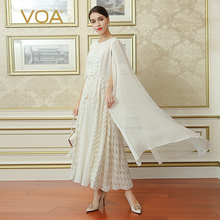 VOA 2017 Fall Fashion Elegant White Women Maxi Long Dress Plus Size High Grade Customization Vintage Silk Dress ALX13601