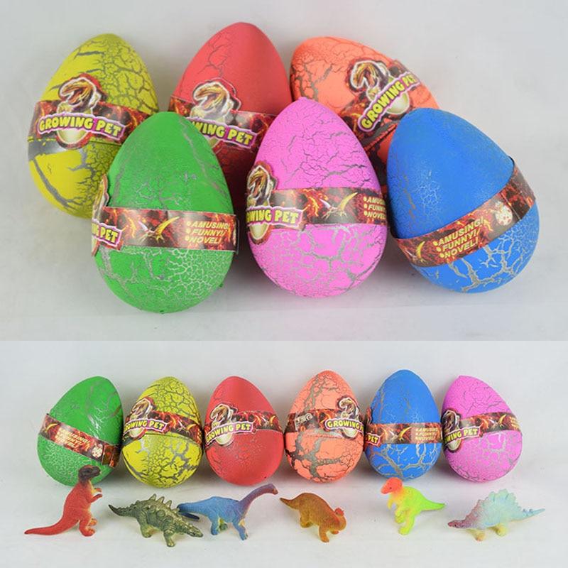 1pc Big size 6 * 9cm Dinosaur de plastic din ou jucărie Gags Novelty pentru elevii de copii, eclozarea în apă Magic în creștere ouă dinozaur