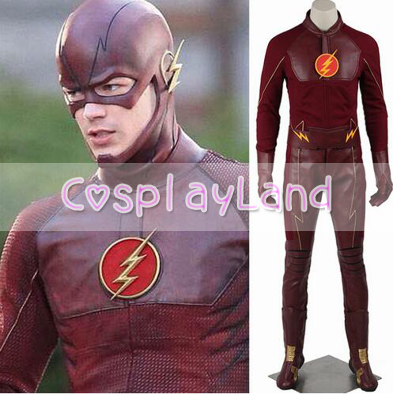 <font><b>The</b></font> <font><b>Flash</b></font> Season 1 Barry Allen Men's <font><b>Cosplay</b></font> Costume Superhero <font><b>With</b></font> Mask <font><b>Boots</b></font> Halloween Costumes <font><b>The</b></font> <font><b>Flash</b></font> Custom Made Suit image