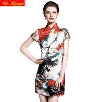 Chiński tradycyjny strój nowoczesne długi qipao formalna mermaid haut cheongsam office black red floral wydrukowano sukienka wiosna
