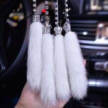 Diamond - encrusted car pendant rearview mirror Mao fox wool rhinestone accessories ladies cute ornaments