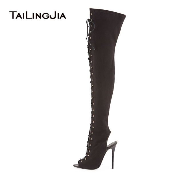 fd76b4715a9a Women s Peep Toe Lace up Slingback Black Canvas Thigh High Boots Ladies High  Heel Over the Knee High Boots Large Size Wholesale