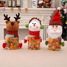 Merry Christmas Candy Jar Bottle Lucky Xmas Pattern Santa Claus Snowman Elk Stockings Gift Box For New Year Home Decoration(China)