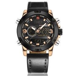 NAVIFORCE męskie zegarki luksusowe marki męska zegarek kwarcowy analogowy cyfrowy zegarek sportowy LED mężczyźni armia wojskowy zegarek na rękę Relogio Masculino