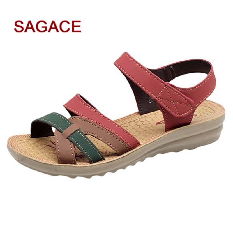 B-Sandals Women Shoes Summer Flat Sandals Female Hook & Loop Sandals Footwear 2019 Fashion Leather Shoes Sandalias Mujer(China)