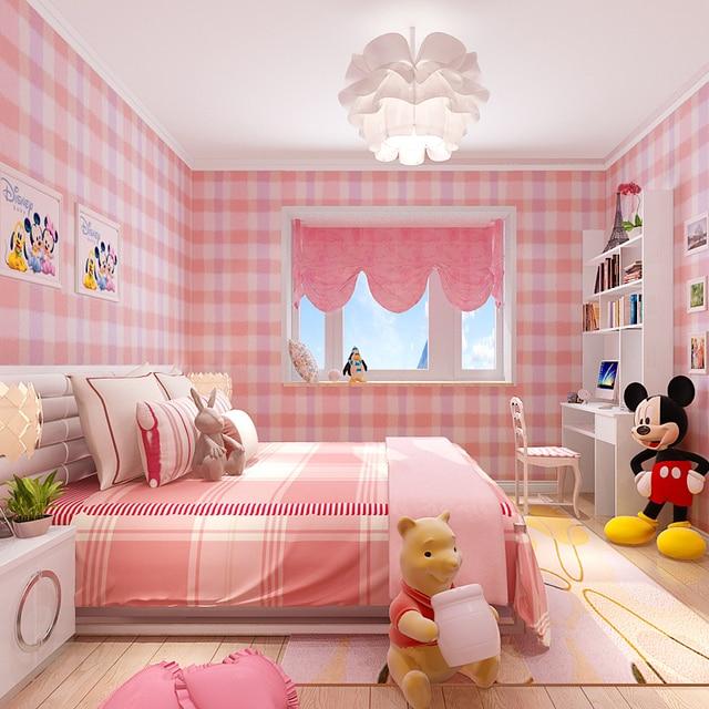 Rosa Gitter Tapete Rolle Kinderzimmer Mädchen Und Jungen Wand Papier
