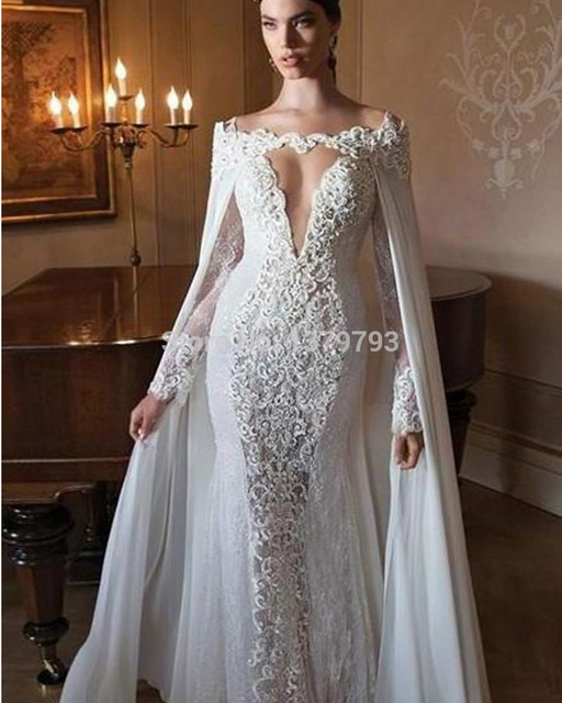 High Fashion Mermaid Lace Women Bride Gowns With Detachable Cape And Sheer Long Sleeves V