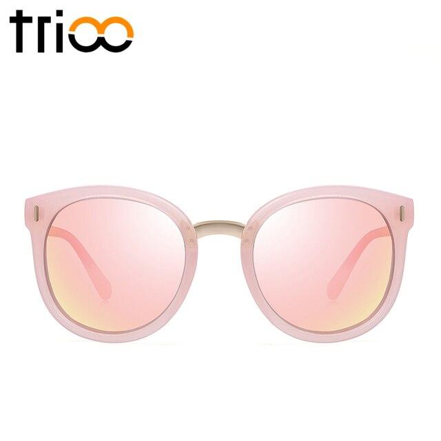4ec3a6041b3d8 TRIOO Rosa Polarizada Mulheres Óculos De Sol Espelho Redondo Shades Verão  Cor Da Lente Mulheres Óculos