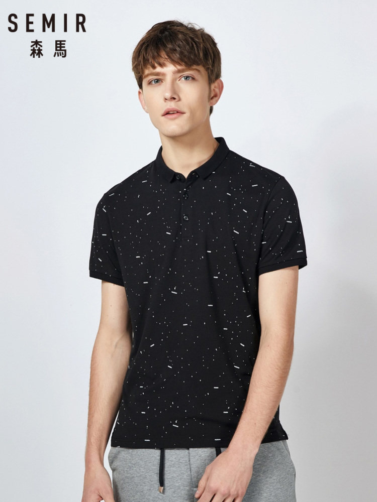 SEMIR Polo Shirt Men Summer Short-sleeve Polo Shirt 2019 New Korean Version Trend Printing Student Casual Shirt