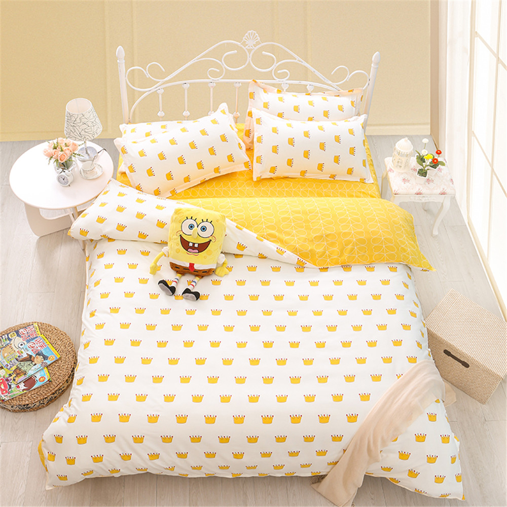White yellow duvet cover printed crown bedding sets kids - Housse de couette jaune ...