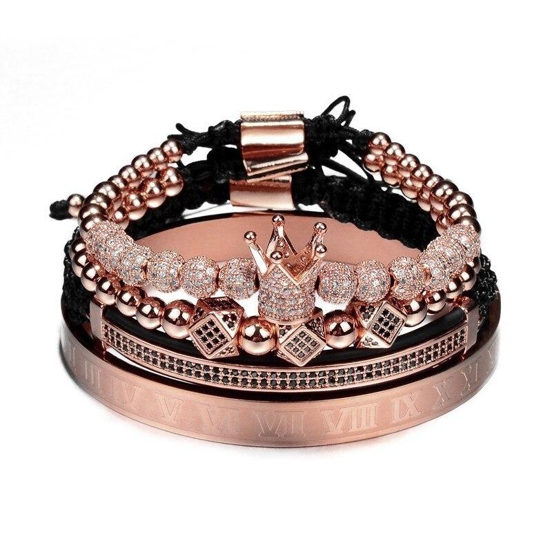 Hot Sale Classical Handmade Braiding Bracelet Gold Hip Hop Men Pave CZ Zircon Crown Roman Numeral Bracelet  Luxury Jewelry 5