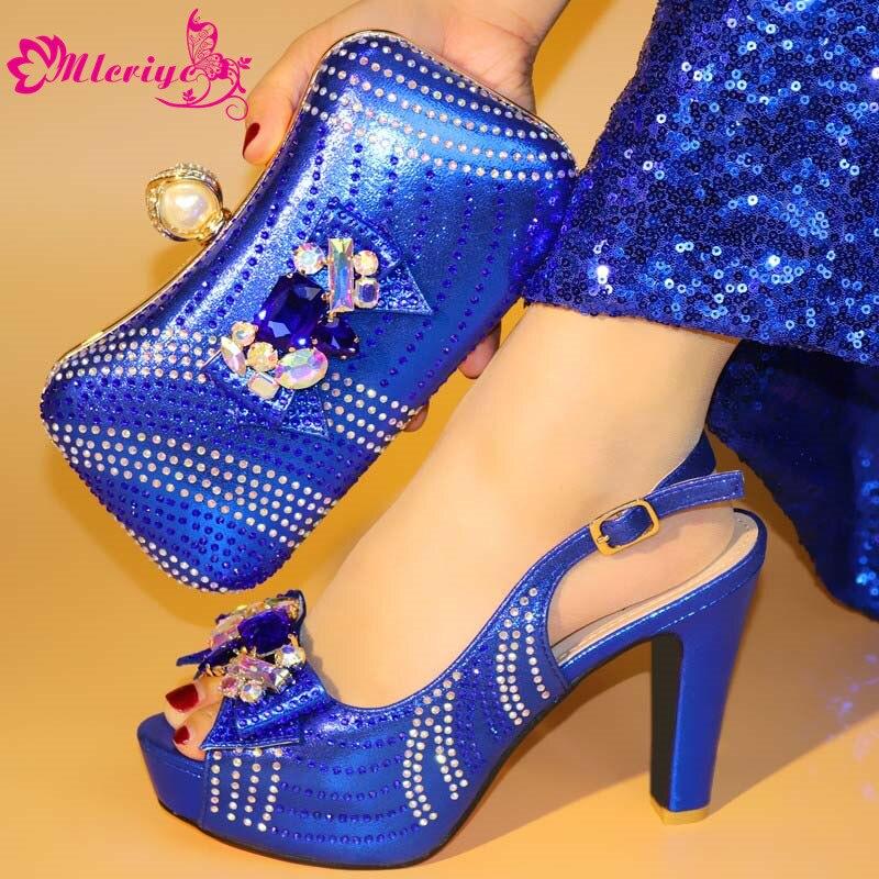 Avec or argent Italien Pour Nouveau Le Mariage Bleu Appliques Sac À Sacs rouge Assorties Et Décoré Chaussures Correspondre Ensemble Mode 8XHwHqT