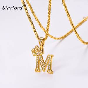 Crown Letter M Necklace Initial Necklace 26 Alphabet Jewelry Personalized Gift Cubic Zirconia Letter Charm For Women Men P3455k