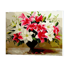 WONZOM Blooming Lily Oil Painting By Numbers DIY Abstract Digital Picture Coloring Number On Canvas Unique Gift For Home 2017