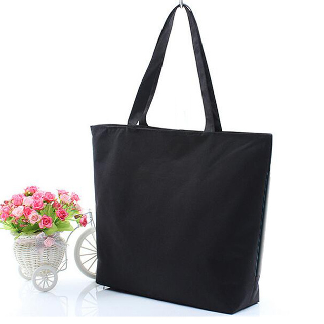 Fashion Blank Women\u0027s Casual Tote High Quality Canvas Shoulder Bag Plain  White Black Handbag Shopping Bag