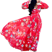 Women Sexy Deep V-neck Long Sleeve Floral Print Chiffon Dress Elegant Vintage Casual Loose Maxi Red Dress Summer Party Vestidos nude floral print crossed front deep v neck chiffon top