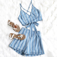 ZAFUL Cover Ups Striped Ties Top and High Waisted Shorts Set Beach Women Open Back Top Two Piece Set Zipper Fly Flat Romper