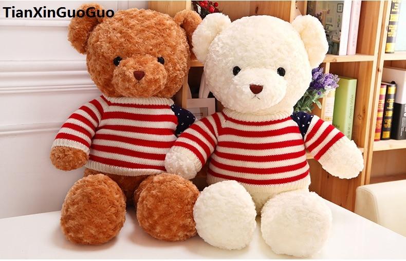 large 65cm font b cute b font Teddy bear plush toy flag sweater teddy bear soft