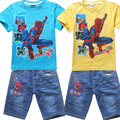 5 sets/lot 2016 Summer Toddler Baby Kids Boys Cartoon Cars Spider-man Shorts Sleeve T-shirt and Shorts Outfits Clothes Sets 2PCs