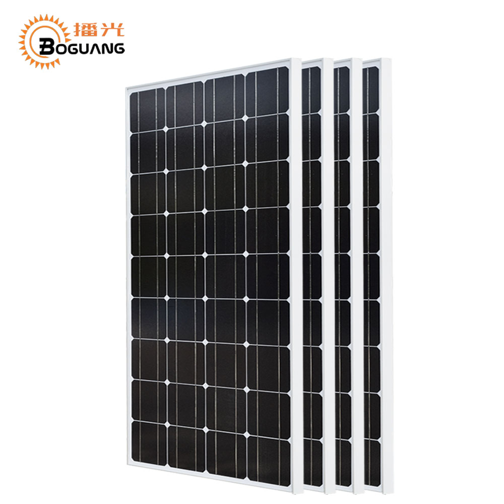 Boguang 400w solar system 4*100w solar panel Photovoltaic module Monocrystalline silicon cell Grid System for 12v/24v battery boguang 200w solar system 100w flexible solar panel high efficiency monocrystalline silicon cell module 20a controller cable