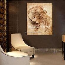 Womans Head Leonardo Da Vinci repro oil painting  on canvas free shipping