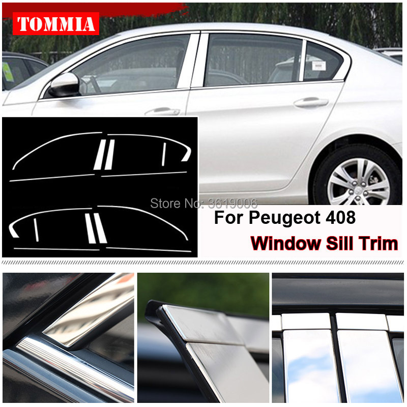 TOMMIA Full Window Middle Pillar Molding Sill Trim Chromium Styling Strips Stainless Steel For Peugeot 408 14-17