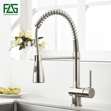 FLG Kitchen Faucets Brushed Nickel for Sink Single Pull Down Spring Spout Mixers Tap Hot Cold Water Crane
