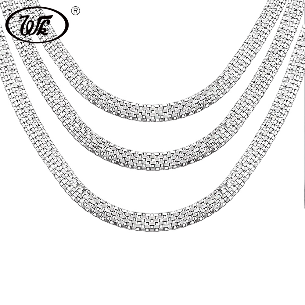 WK 1 Piece Vintage 925 Silver Boys Mens Snake Chain Necklace Hip Hop Punk Male Chains Jewelry 18 20 Inch 4MM 5MM 6MM W4 NM008 2018 never fade stainless steel tennis chain 4mm 5mm 6mm width 18 20 22 24inch micro paved cubic zircon hip hop mens jewelry