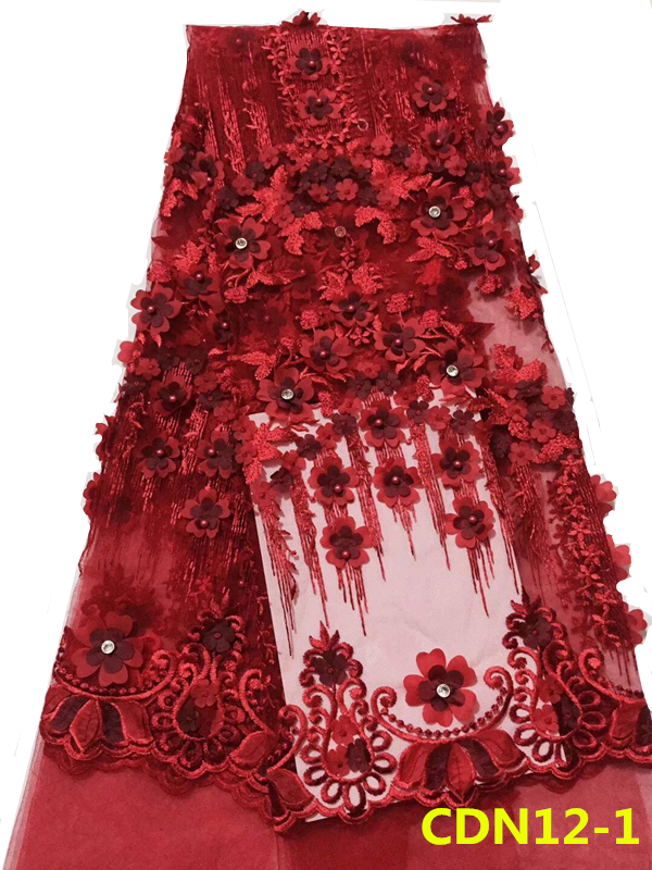 2018 3D fleurs mariage dentelle tissu de mariée pour haute couture maille net conception broderie dentelle tissu