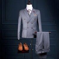 NA28チェックグリッド峰襟正式な男性カスタムメイドタキシード衣装3ピースジャケットベストパンツスーツでパンツダブル乳房