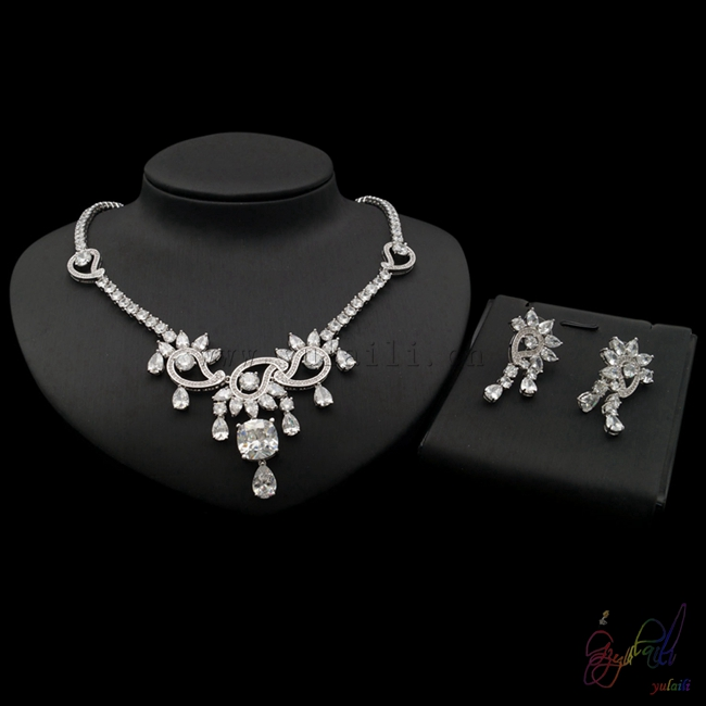 Zircon Jewelry Sets Bridal Luxury Wedding Jewelry Set White Gold
