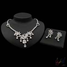 zircon jewelry sets bridal luxury wedding jewelry set  white gold color expensive jewellery