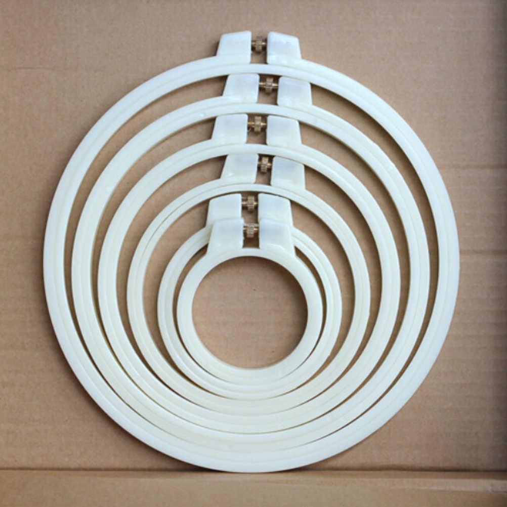 Anel de aro de bordado, anel de plástico/bambu para bordado, 18 estilos, costura ajustável, 7-30cm ferramentas,