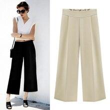 Шифон широкие брюки ноги женщины случайные свободные высота талии плюс размер длина лодыжки брюки женские брюки для офиса одежда дамы 5XL