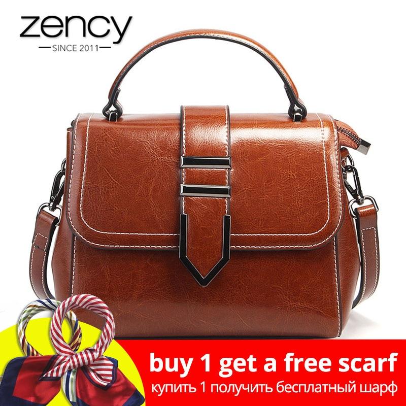 Zency винтажная женская сумка 100% натуральная кожа топ-ручка Сумка-тоут ретро коричневый высокое качество женская сумка через плечо кошелек
