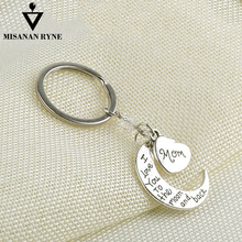 MISANANRYNE Sliver Color Alloy Keychains Mom  I Love You To the Moon and Back Creative Heart Shape Key Chain Bag Pendant