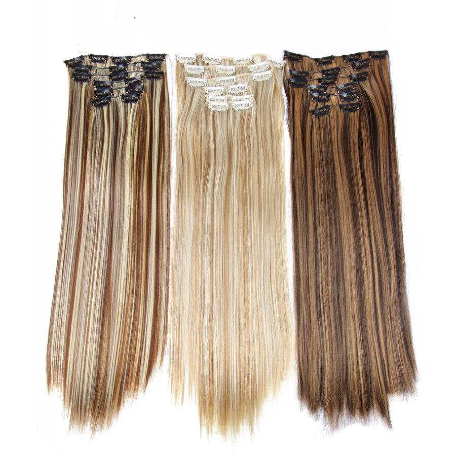 Продукция Alileader, длинные прямые накладные волосы на 16 зажимах, 22 дюйма, синтетические накладные волосы, блондинка, смешанные коричневые