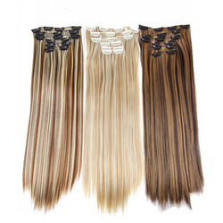 Alileader Products 22Inch 16 Clips Long Straight Clip In Hair Extensions Full Head Synthetic Fake Hair Pieces Blonde Mix Brown