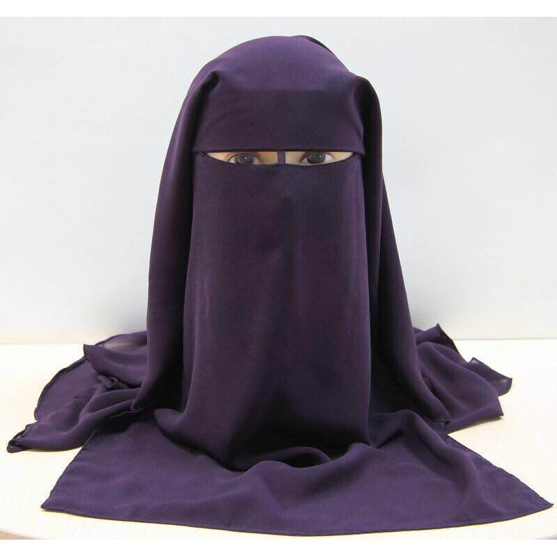 Muslim Bandana Scarf Islamic 3 Layers Niqab Burqa Black Face Cover Bonnet Hijab Cap Veil Headwear Abaya Wrap Ramadan Prayer