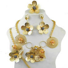 african party  jewelry sets women fashion necklace gold filled flower dubai fine new
