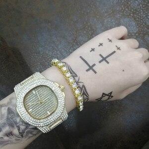 Image 3 - Роскошные мужские часы + браслеты, Модный комплект со стразами, с кубинской цепочкой Braclete, золотой, серебряный цвет, с кристаллами, с коробкой, 2019