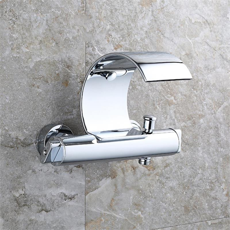 Wall Mounted Bath Waterfall Faucet Mixer Shower Exposed Valve ...