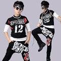 2016 Primavera Terno dos Esportes das Crianças Boy Casual Agasalho Crianças Dancewear Hip Hop Meninos Roupas de Verão Cool Fashion Preto Branco