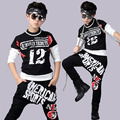 2016 Spring Children`s Sports Suit Boy Casual Tracksuit Kids Hip Hop Dancewear Boys Summer Clothes Cool Fashion Black White