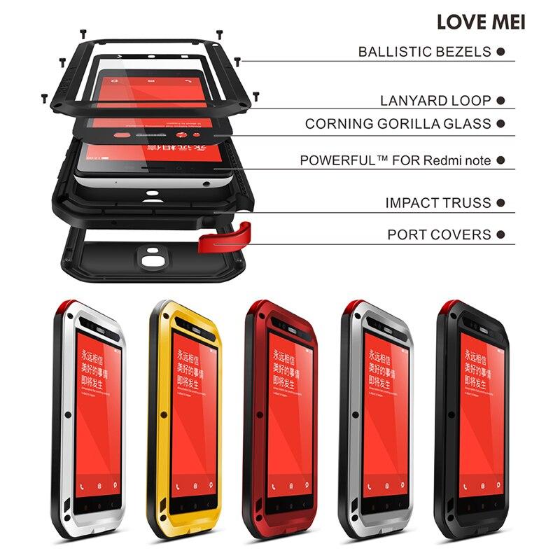 imágenes para Cubierta de la Caja de la Marca AMOR MEI Metal de Aluminio Para Xiaomi Redmi Nota (5.5 pulgadas) Caso Para Xiaomi Redmi Nota Cáscara a prueba de golpes A Prueba de agua