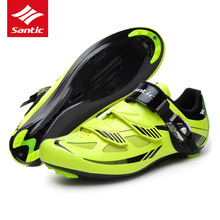 Santic Mens Road Cycling Shoes PU & Mesh Breathable Road Bike Shoes Auto-lock Bicycle Sport Shoes Zapatillas Ciclismo Green 2017