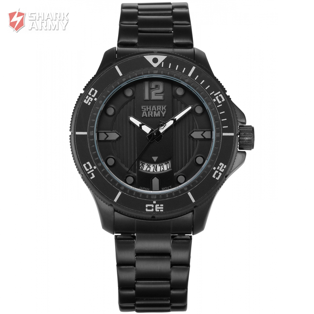 SHARK ARMY Electroplate Grey Number Date Display Black Steel Strap Military Men Sports Quartz Waterproof Running Watches /SAW215 aquapulse 4122b grey black